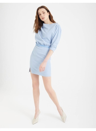BGN Buz Mavisi - Kol Detaylı Mini Elbise Mavi